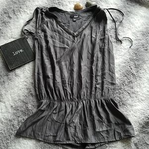A.n.a Sheer Gray Tunic Top